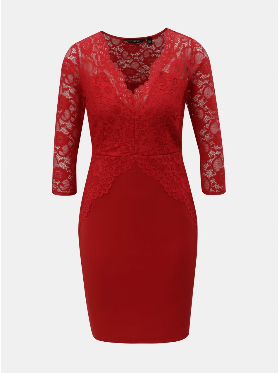 a26269d78741 Červené puzdrové šaty s čipkovanými detailmi Dorothy Perkins značky ...