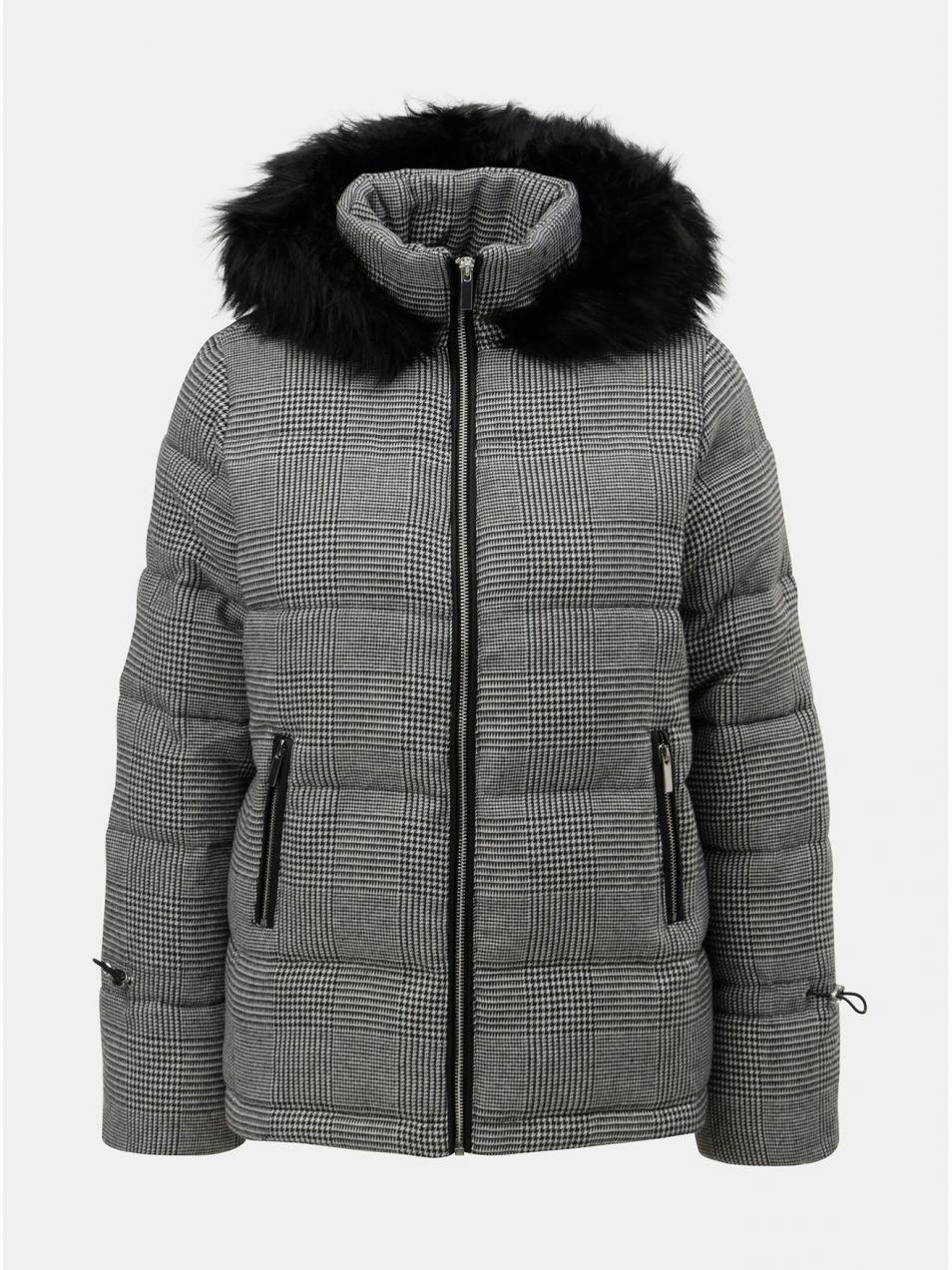 57b0ae000b30 Sivá prešívaná zimná bunda s umelou kožušinkou Dorothy Perkins ...