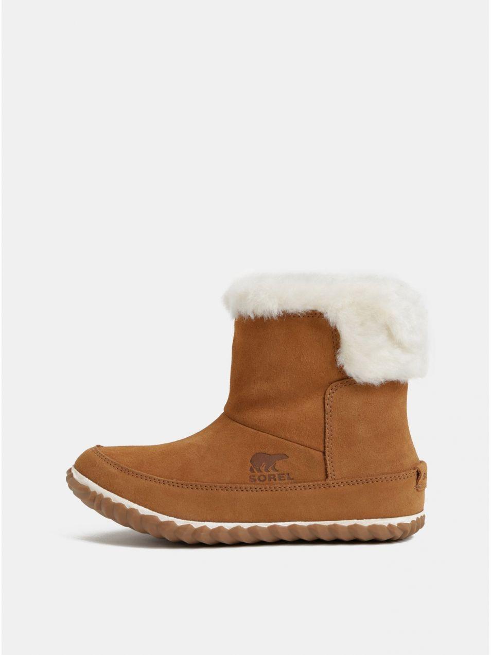 Hnedé dámske semišové zimné členkové topánky s vnútornou umelou kožušinkou  SOREL OUT N ABOUT 7b612d224cc