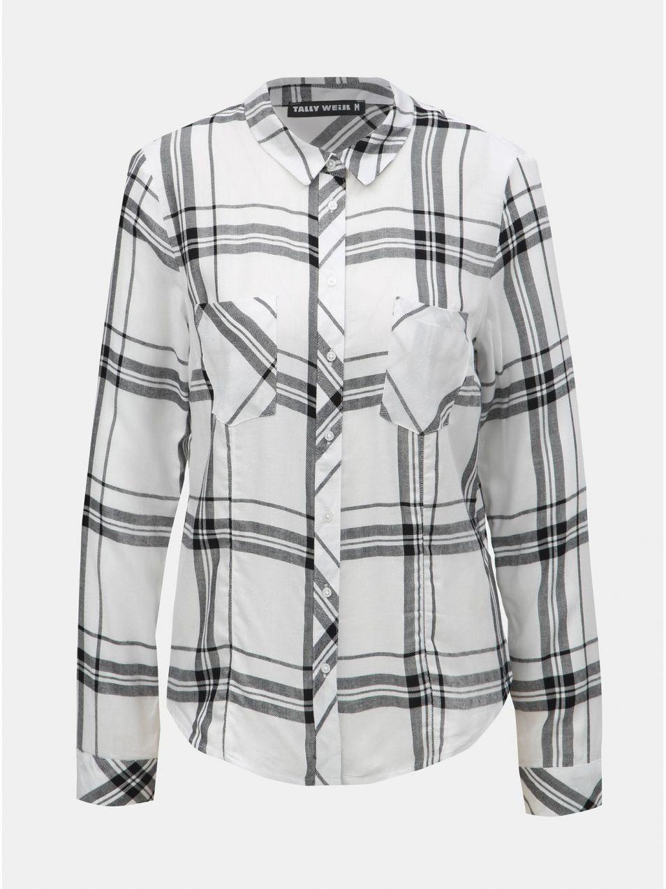 b0fbb2f75e34 Čierno–biela kockovaná košeľa s náprsnými vreckami TALLY WEiJL ...