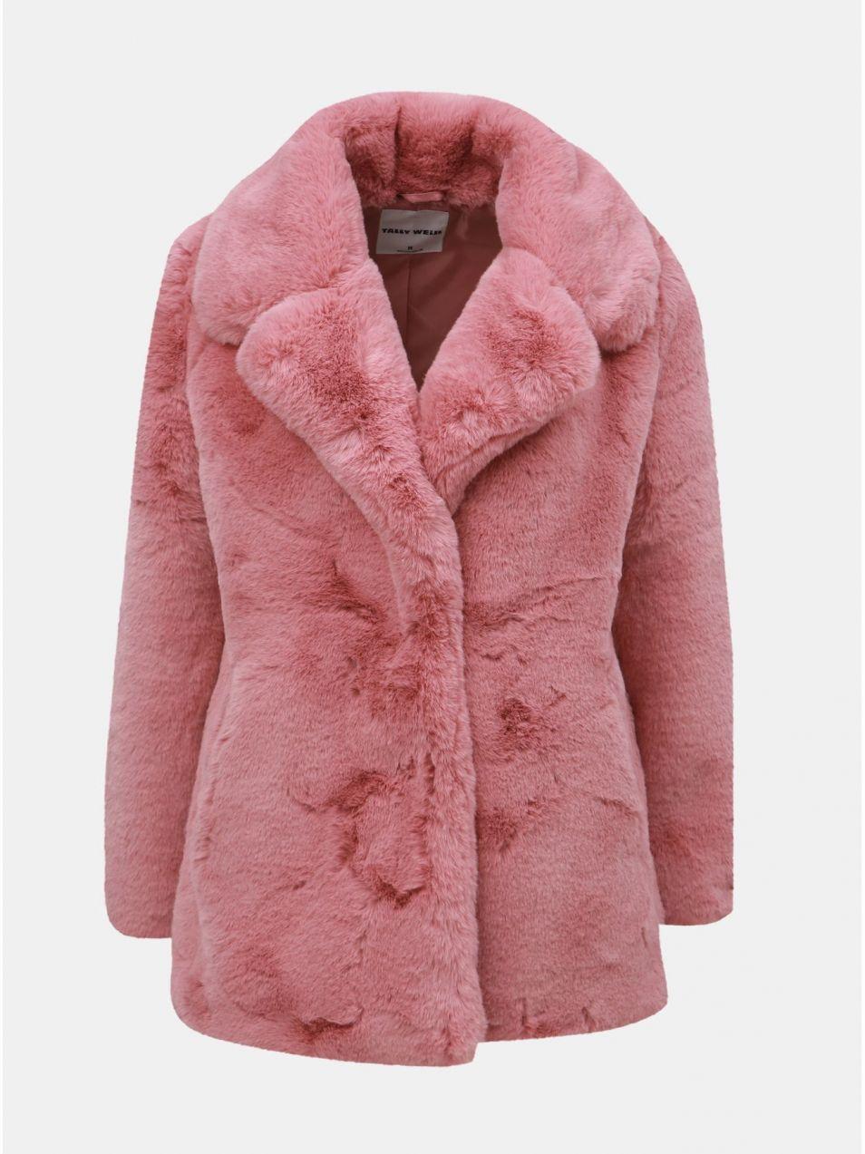 Staroružový krátky kabát z umelej kožušinky TALLY WEiJL značky TALLY ... d385b564875