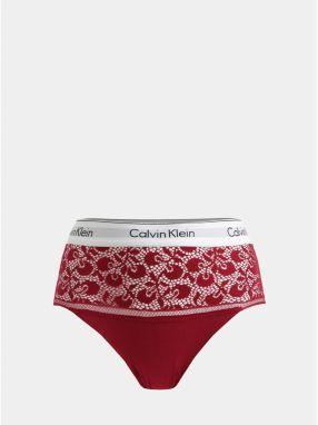 29709e480e Červené čipkované nohavičky s vysokým pásom Calvin Klein