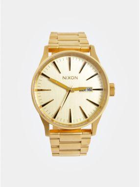 c2b7798f494 Pánske hodinky s nerezovým remienkom v zlatej farbe NIXON
