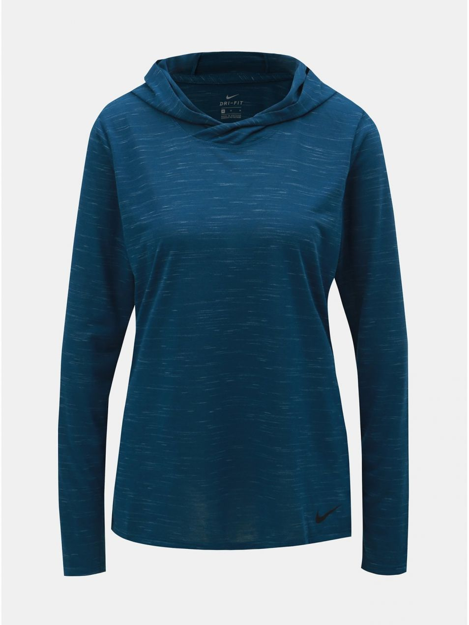 Modré dámske melírované tričko s dlhým rukávom a kapucňou Nike ... 5088b9fa4ad
