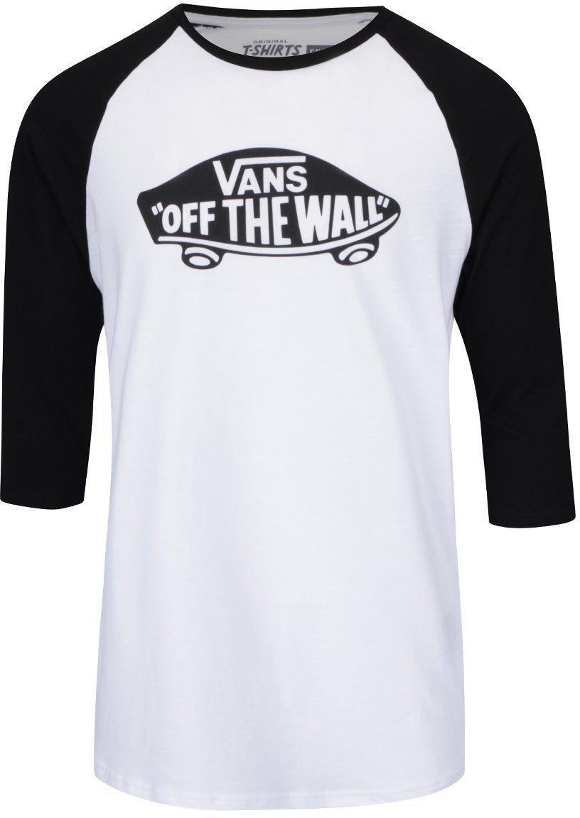 Čierno-biele pánske tričko s 3 4 rukávmi Vans Raglan značky Vans - Lovely.sk 225606b6cd0