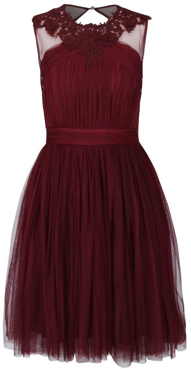 009fd8c4ba52 Vínové tylové šaty s čipkovanými detailmi Little Mistress značky Little  Mistress - Lovely.sk