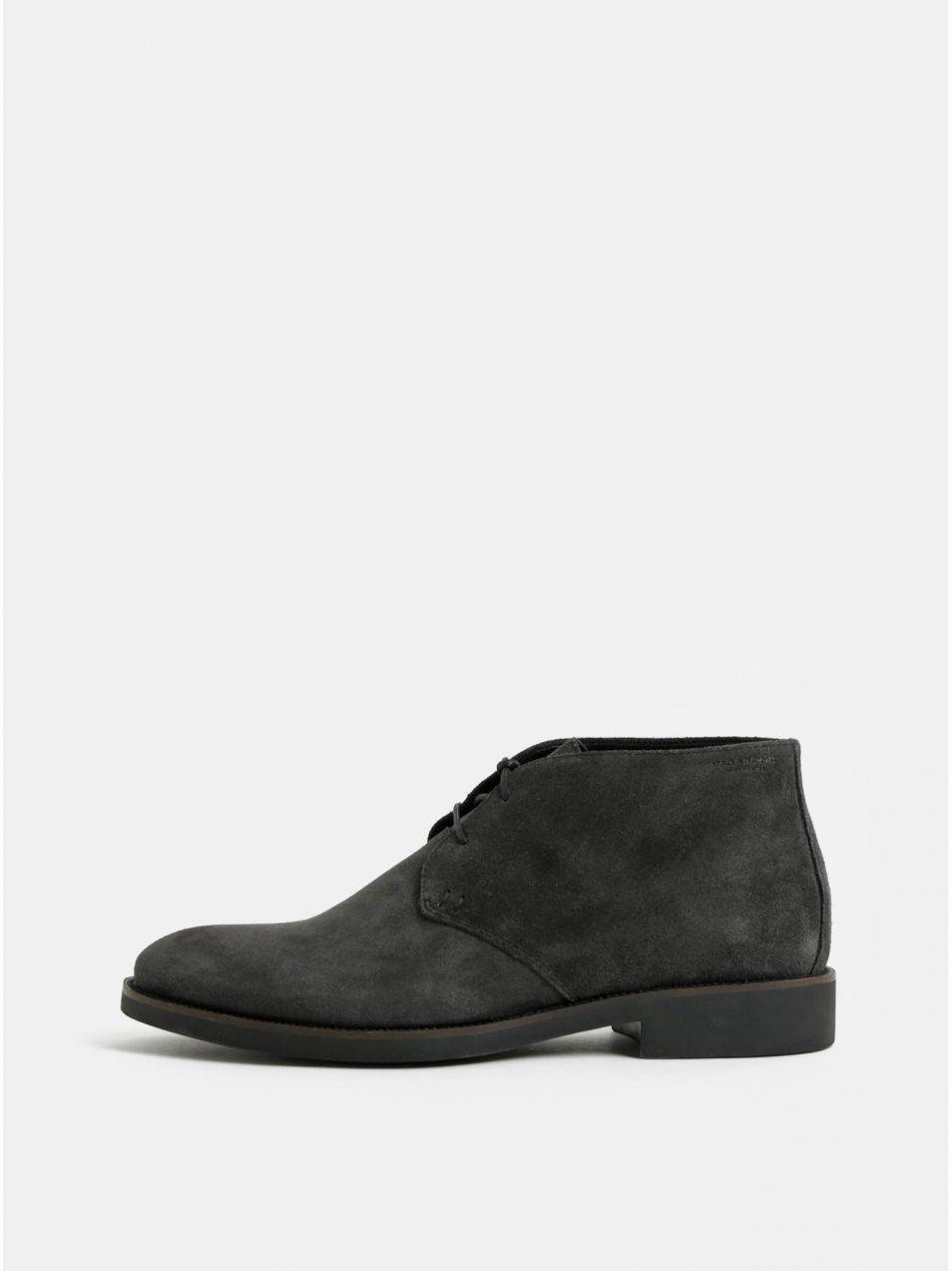 5e705fdac Tmavosivé pánske semišové členkové topánky Vagabond Roy značky ...