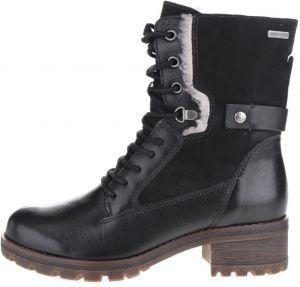 481307505 Čierne členkové kožené topánky na nízkom podpätku Tamaris