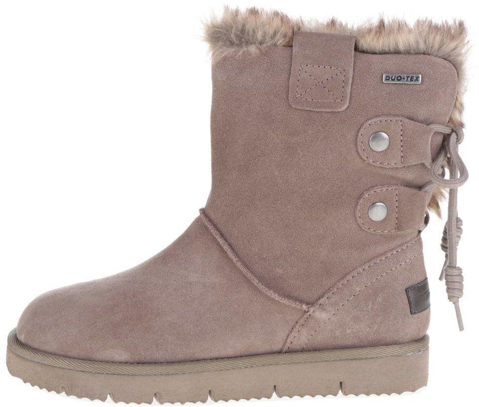 Sivo-hnedé zimné semišové topánky s umelým kožúškom Tamaris značky Tamaris  - Lovely.sk 24eb0addd4f