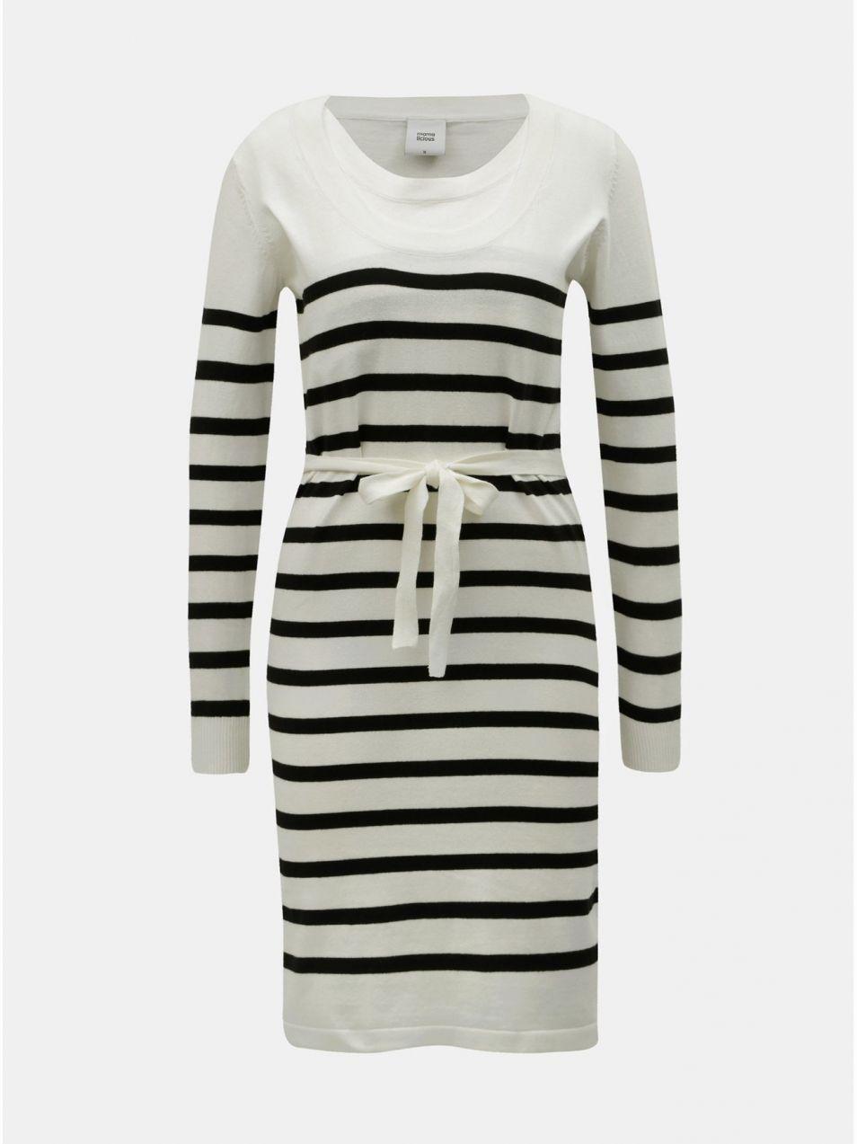 Čierno–krémové tehotenské pruhované svetrové šaty na dojčenie Mama.licious  Newanga značky Mama.licious - Lovely.sk 37d96122487