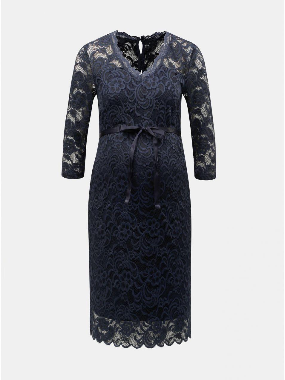 2a0e53df755b Tmavomodré tehotenské čipkované puzdrové šaty Mama.licious Mivana ...
