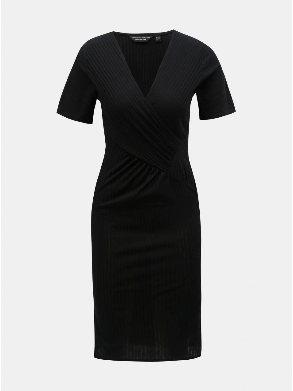 Čierne puzdrové rebrované šaty s prekladaným výstrihom Dorothy Perkins 5899851ef83