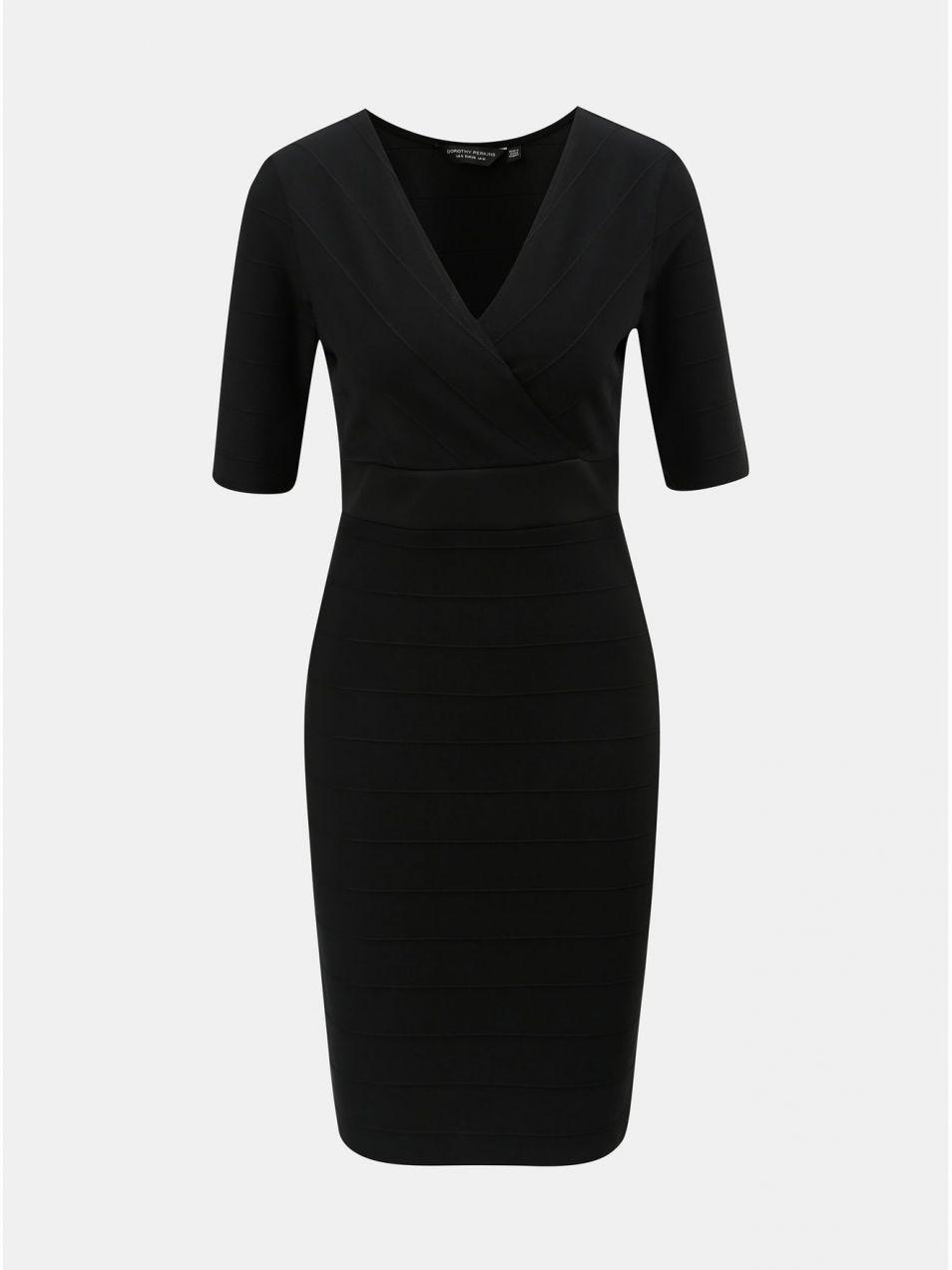 Čierne puzdrové šaty s prekladaným výstrihom Dorothy Perkins značky ... ec152bdd8d6