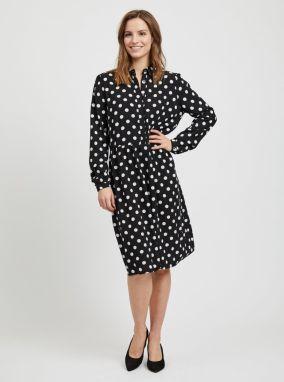 3d8fcd8055bc Bielo–čierne bodkované košeľové šaty VILA Dotla značky VILA - Lovely.sk