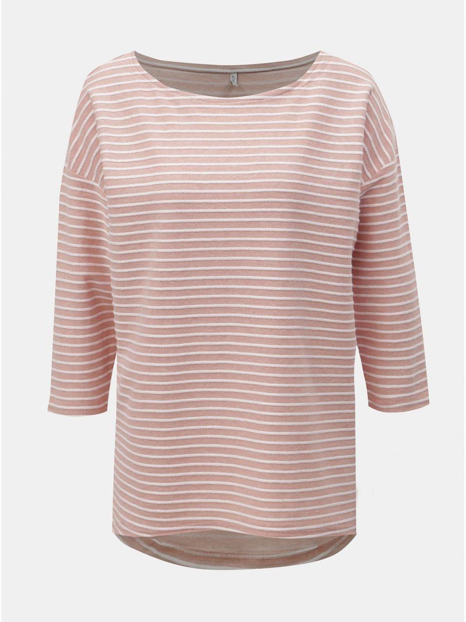 9356f61c8 Bielo–ružové pruhované tričko s 3/4 rukávmi ONLY Elly značky ONLY ...