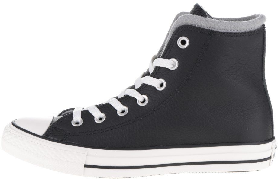 bdab6c86c0e77 Čierne unisex kožené členkové tenisky so sivým detailom Converse Chuck  Taylor All Star značky Converse - Lovely.sk