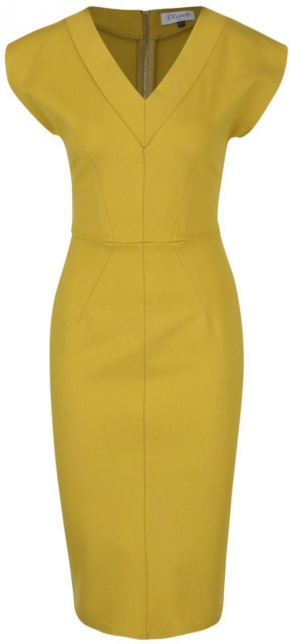 Zelenožlté puzdrové šaty s véčkovým výstrihom Closet značky Closet -  Lovely.sk ddbd929d9df