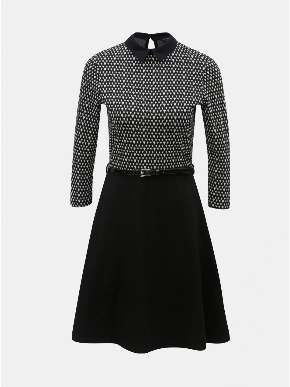 Bielo–čierne vzorované šaty s opaskom Dorothy Perkins značky Dorothy ... bf6092f45af