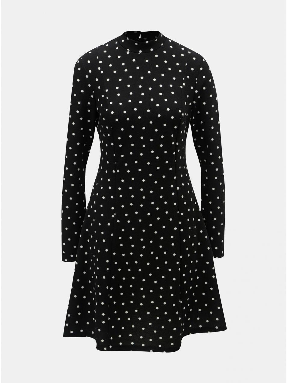 59aa1c6c57dd Čierne bodkované šaty so stojačikom Dorothy Perkins značky Dorothy ...