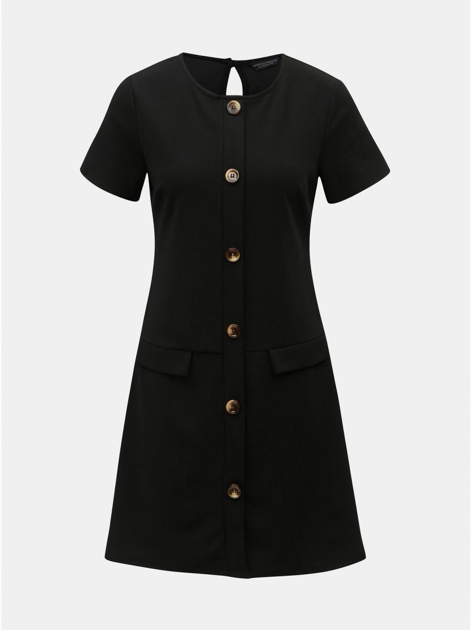 e94fde2f85 Čierne šaty s ozdobnými gombíkmi Dorothy Perkins značky Dorothy ...
