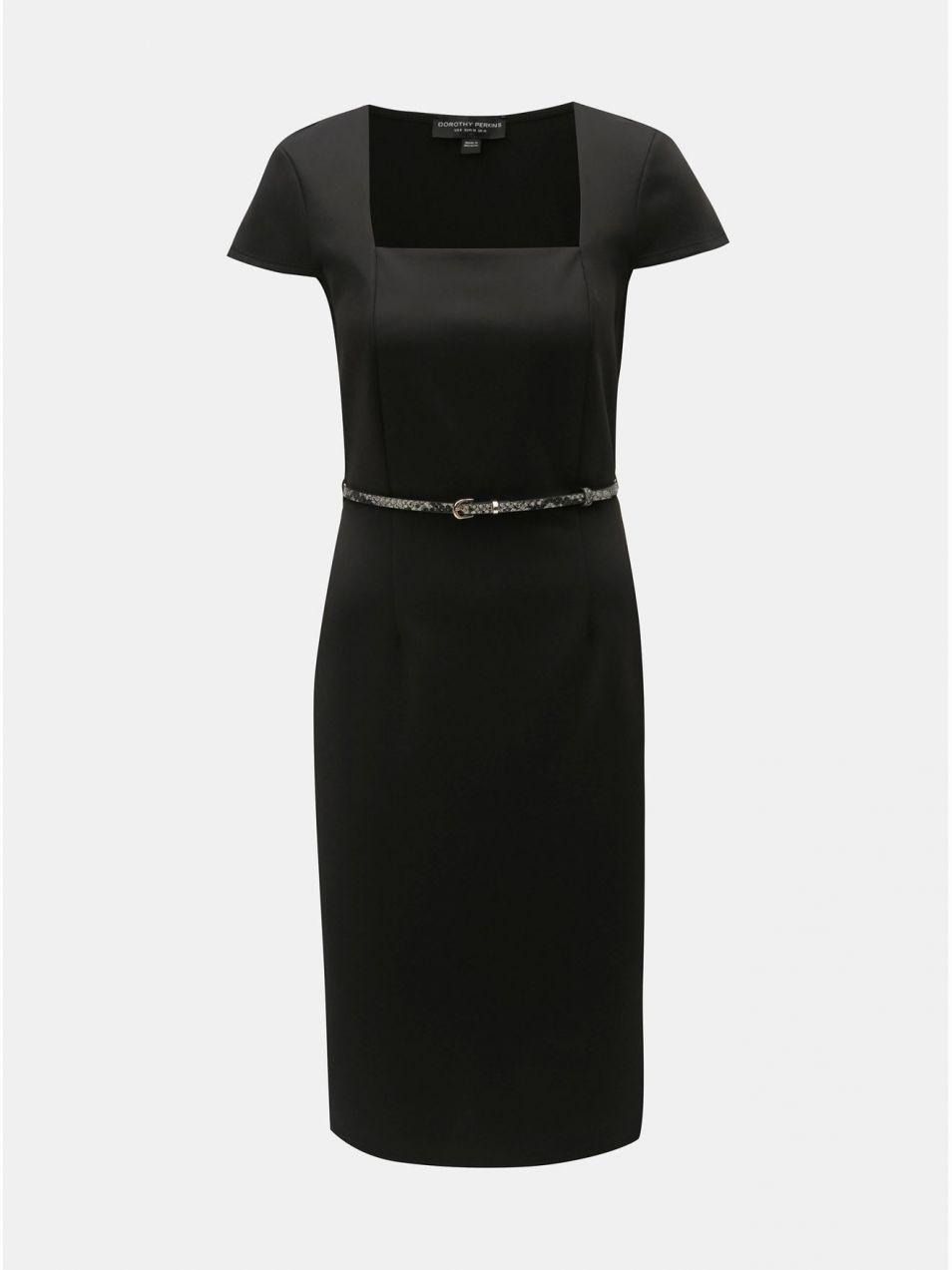 Čierne puzdrové šaty s opaskom Dorothy Perkins značky Dorothy ... 16b16138ab1