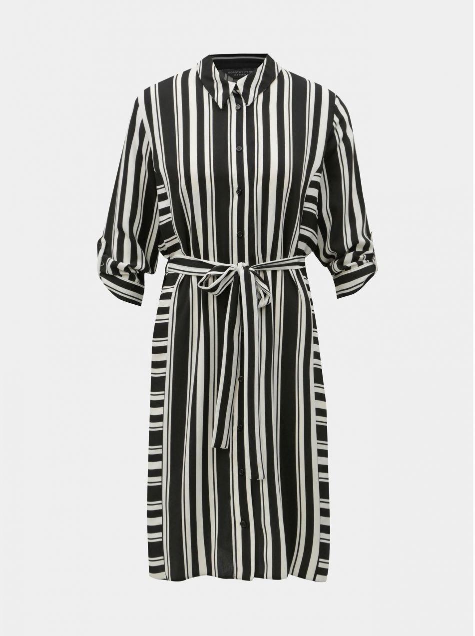 Čierno–biele pruhované košeľové šaty Dorothy Perkins značky Dorothy ... 4a4384e8c36