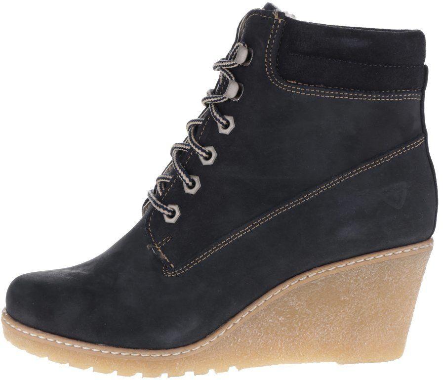 38621cff4522e Tmavomodré kožené topánky na plnom opätku Tamaris značky Tamaris - Lovely.sk