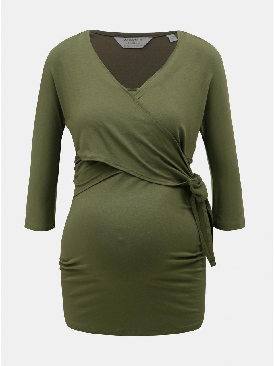 5c0cb7b7c55b Kaki tehotenské tričko s 3 4 rukávom vhodné na dojčenie Dorothy Perkins  Maternity