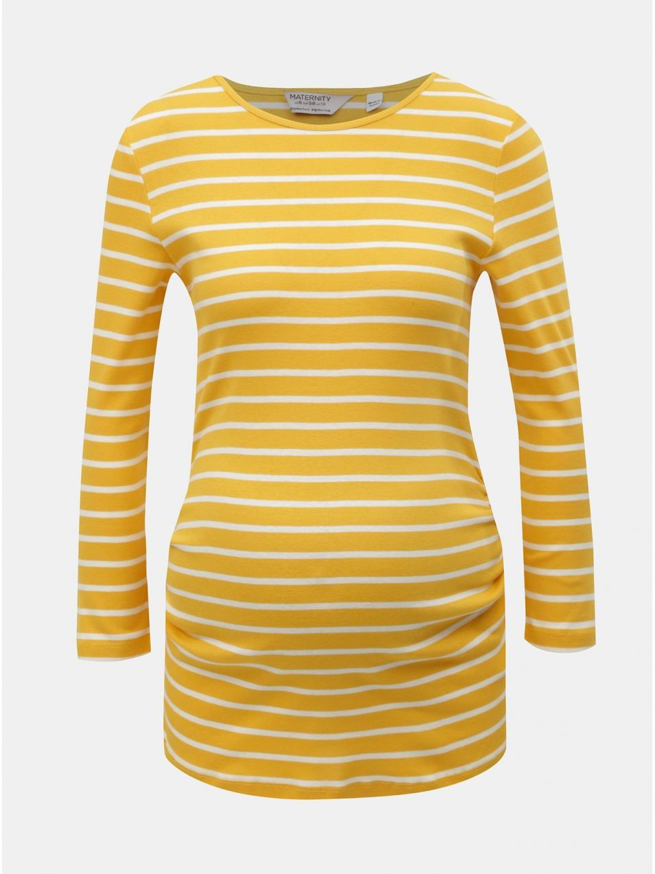 a24d662da Bielo–žlté pruhované tehotenské tričko s 3/4 rukávom Dorothy Perkins  Maternity