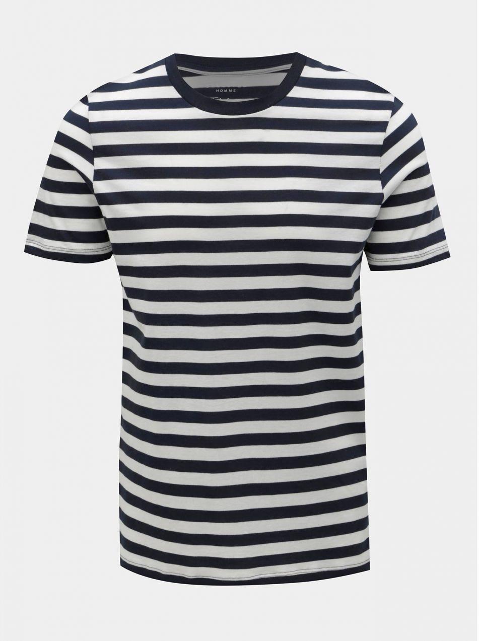 85fdd25d6256 Bielo–modré pruhované basic tričko Selected Homme značky Selected ...