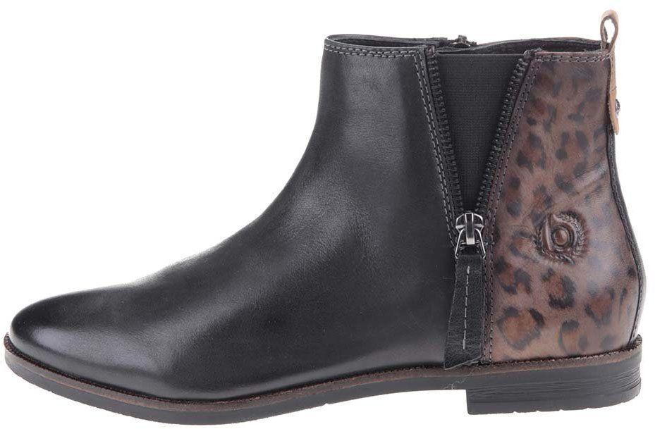 219ac3eeb Čierne dámske kožené členkové topánky s leopardím vzorom bugatti Faith  značky bugatti - Lovely.sk