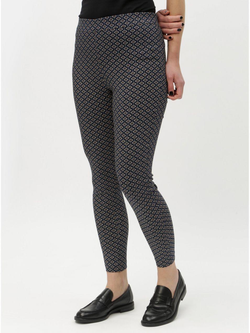 5c7d1e760b0c Tmavomodré vzorované skrátené skinny nohavice s vysokým pásom Dorothy  Perkins