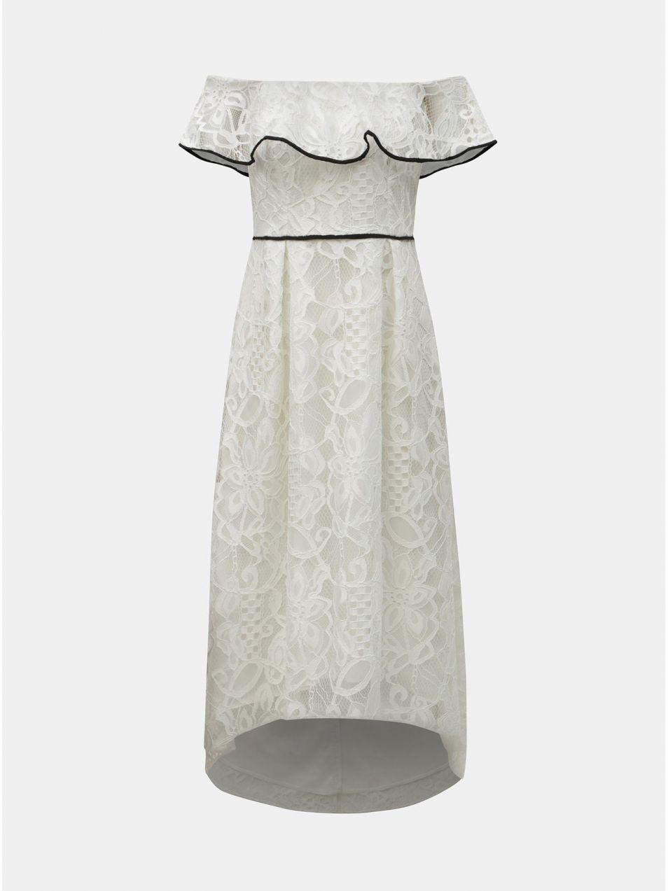 eead48d4b743 Biele čipkované midišaty s odhalenými ramenami Dorothy Perkins ...