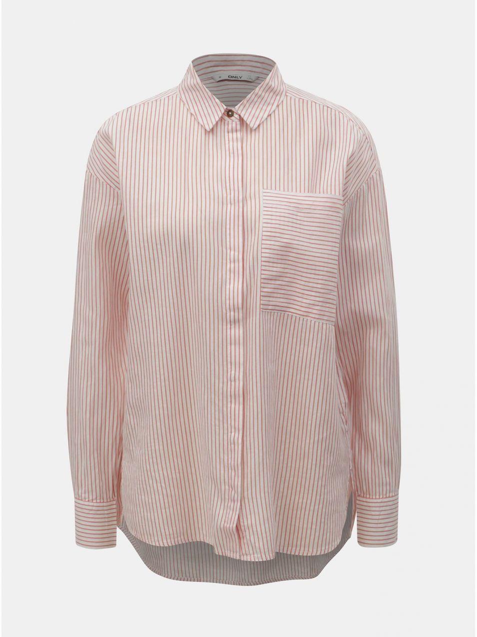 b48566ec11b7 Červeno–biela pruhovaná košeľa ONLY Carry značky ONLY - Lovely.sk