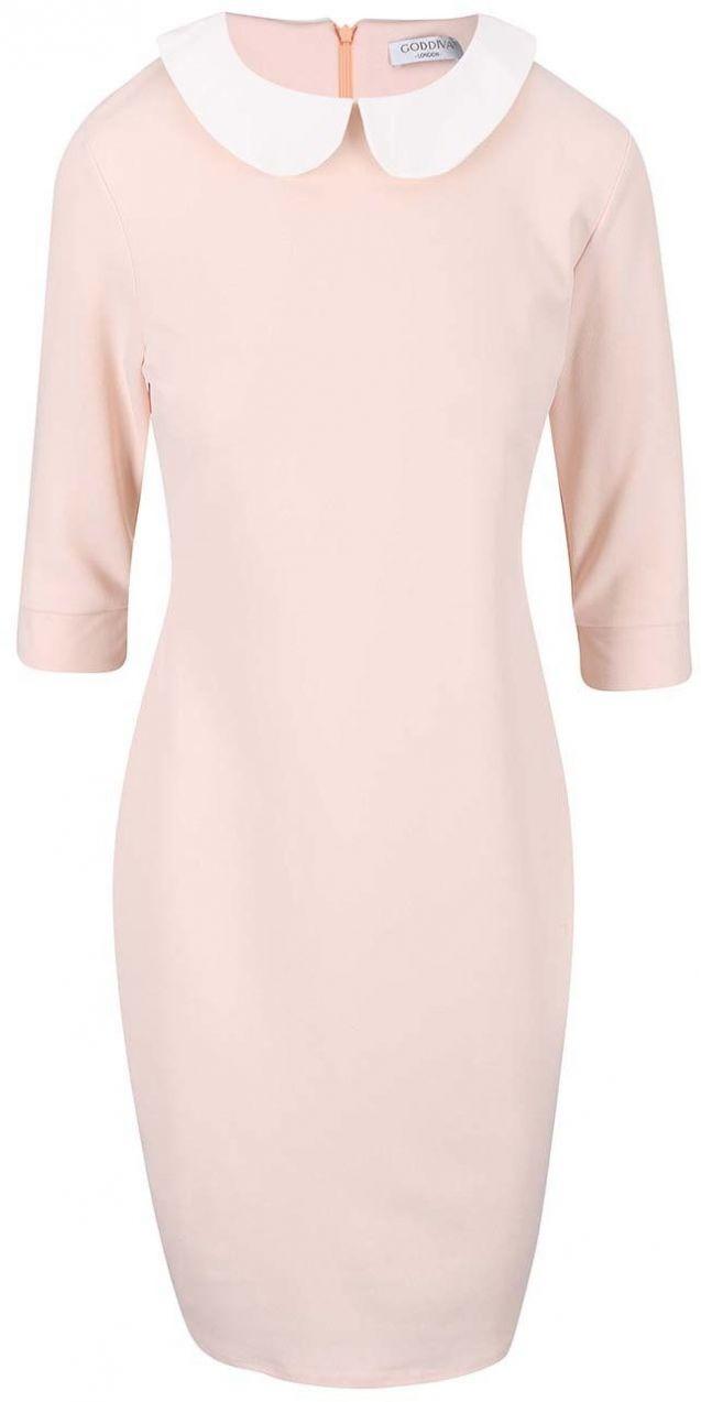 c4174daae434 Pudrovo ružové šaty s bielym golierikom Goddiva značky Goddiva - Lovely.sk