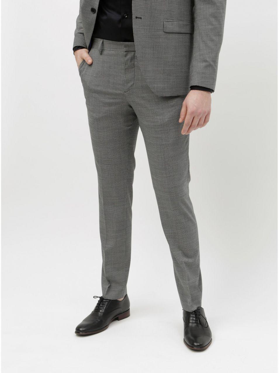 d45ebc5e2c Sivé kockované oblekové nohavice s prímesou vlny Selected Homme Buffalnoah