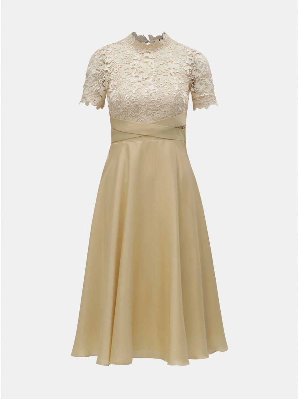 Béžové šaty s čipkovaným topom Little Mistress značky Little ... 6fd73151b36