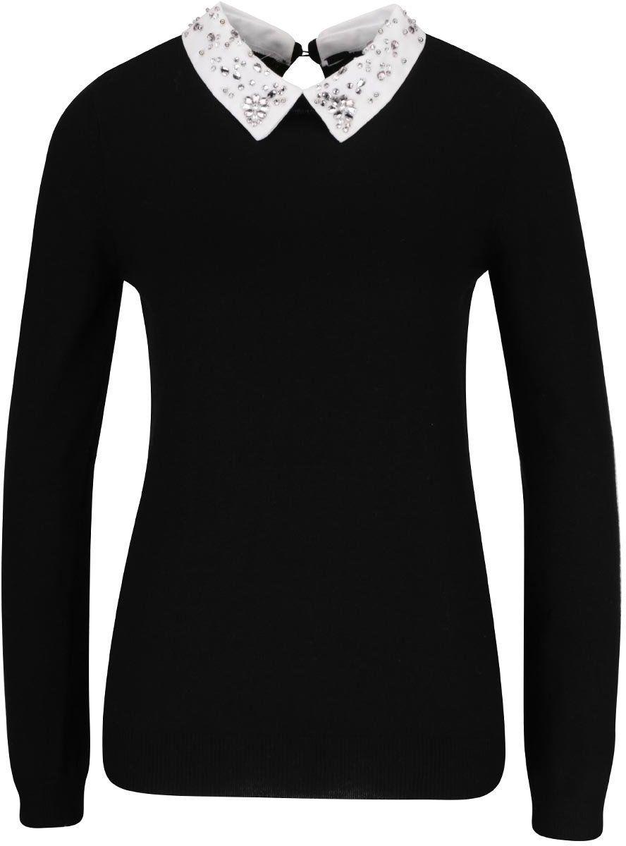 a7793d5ddc0c Čierny sveter s golierom s kamienkami Dorothy Perkins značky Dorothy Perkins  - Lovely.sk