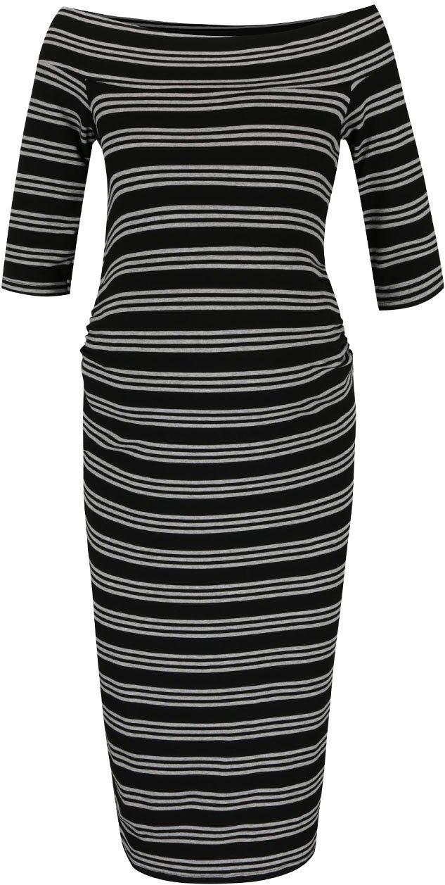 55986c145eee Čierne tehotenské pruhované šaty s odhalenými ramenami Dorothy Perkins  Maternity značky Dorothy Perkins Maternity - Lovely.sk