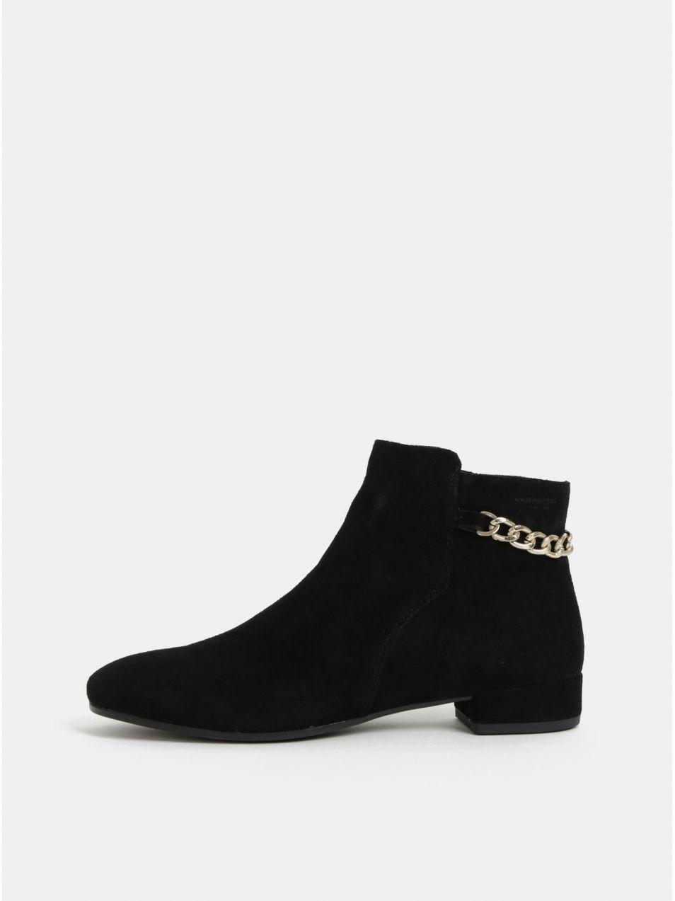 ce3dd4ff1158 Čierne dámske semišové členkové topánky Vagabond Suzan značky ...