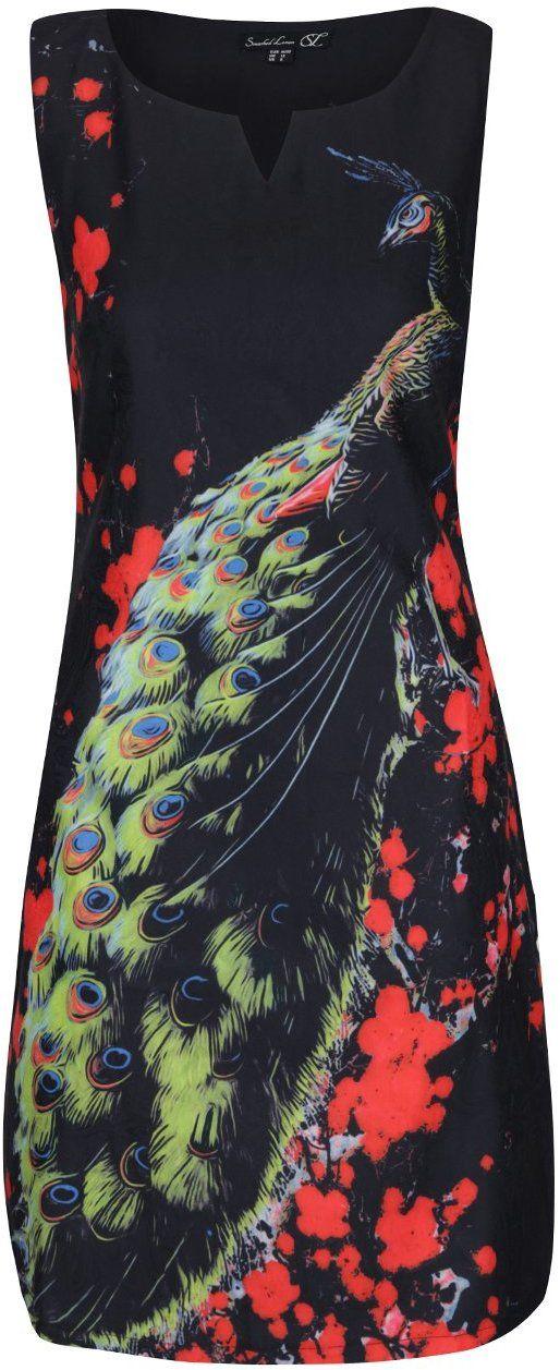 81fdd9b82c81 Čierne šaty s motívom páva Smashed Lemon značky Smashed Lemon - Lovely.sk