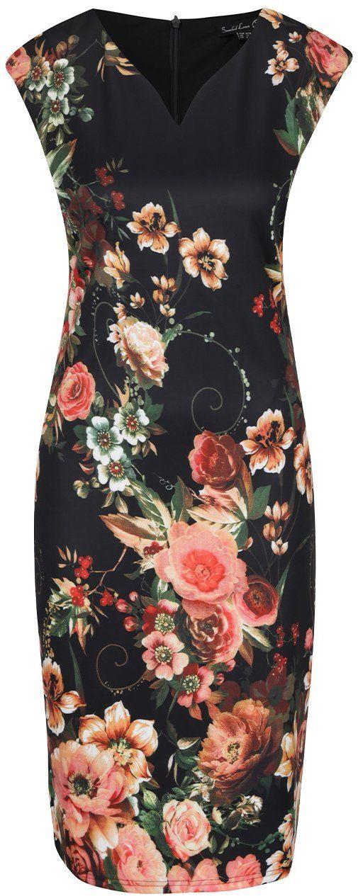 3f6a7620e024 Oranžovo-čierne kvetované šaty Smashed Lemon značky Smashed Lemon -  Lovely.sk