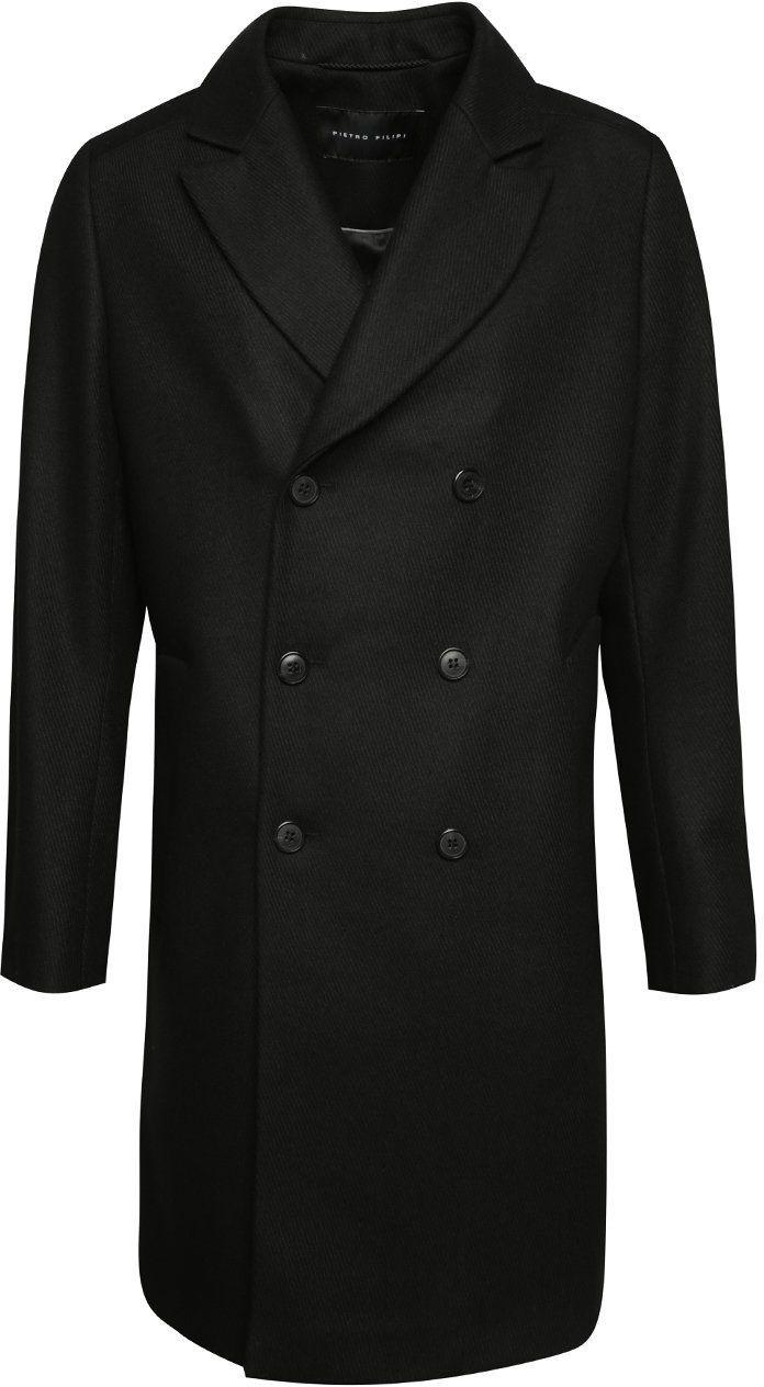 Čierny pánsky vlnený dlhý kabát Pietro Filipi značky Pietro Filipi -  Lovely.sk c1ef45fc7d5