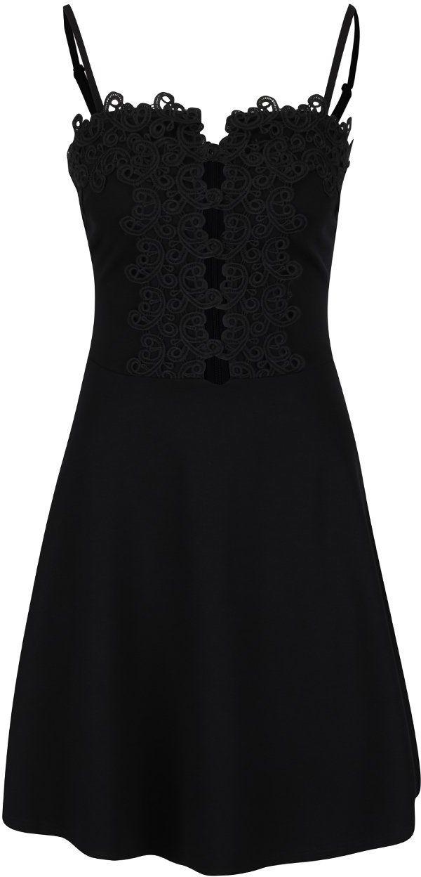 a714ceaea3fd Čierne šaty s tenkými ramienkami a čipkou Miss Selfridge značky Miss  Selfridge - Lovely.sk