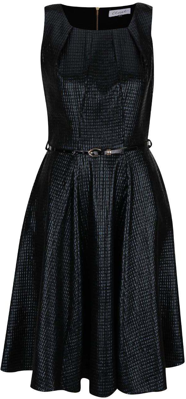 Čierne lesklé šaty s jemným plastickým vzorom Closet značky Closet -  Lovely.sk 7691f5b7cd6