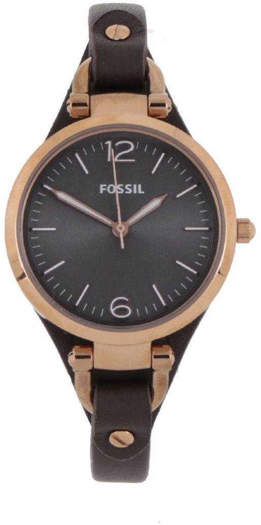 Tmavohnedé dámske hodinky s koženým remienkom Fossil Georgia značky Fossil  - Lovely.sk bad19352902