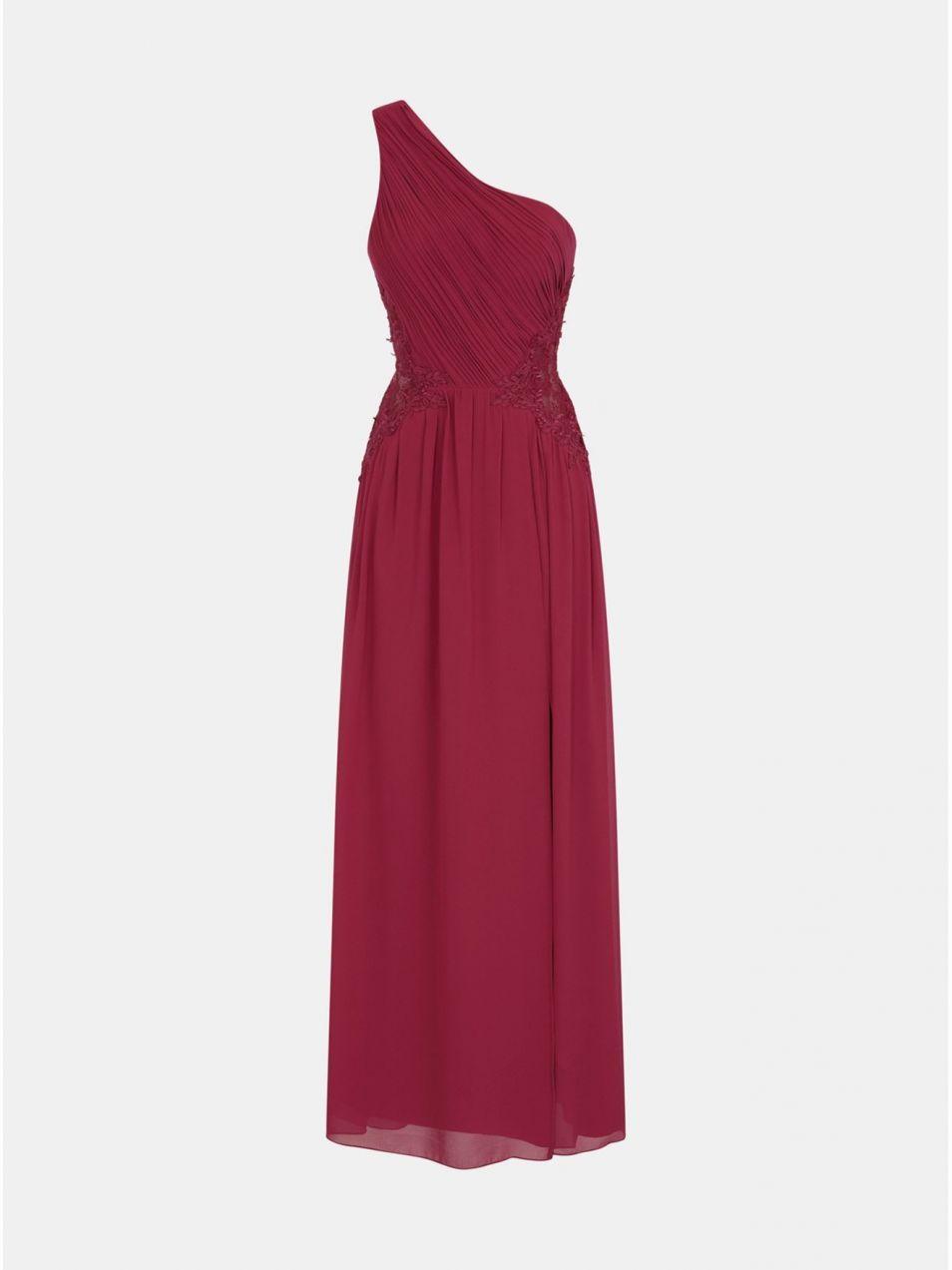933c701a4402 Vínové šaty s čipkou na bokoch Little Mistress značky Little ...