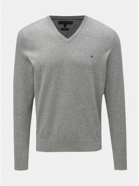 a44e0a7d4365 Sivý pánsky melírovaný sveter s prímesou hodvábu Tommy Hilfiger