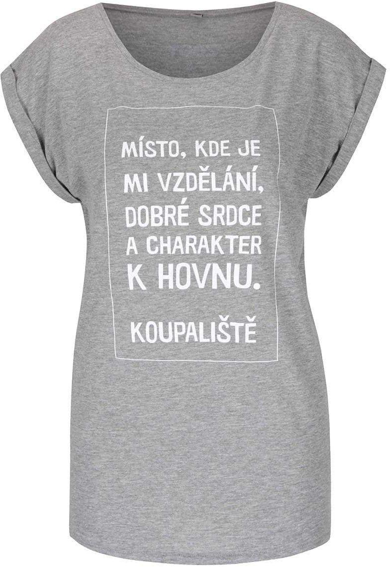5e4e0d5fa Sivé dámske tričko s krátkym rukávom Bez Jablka Koupaliště značky ...