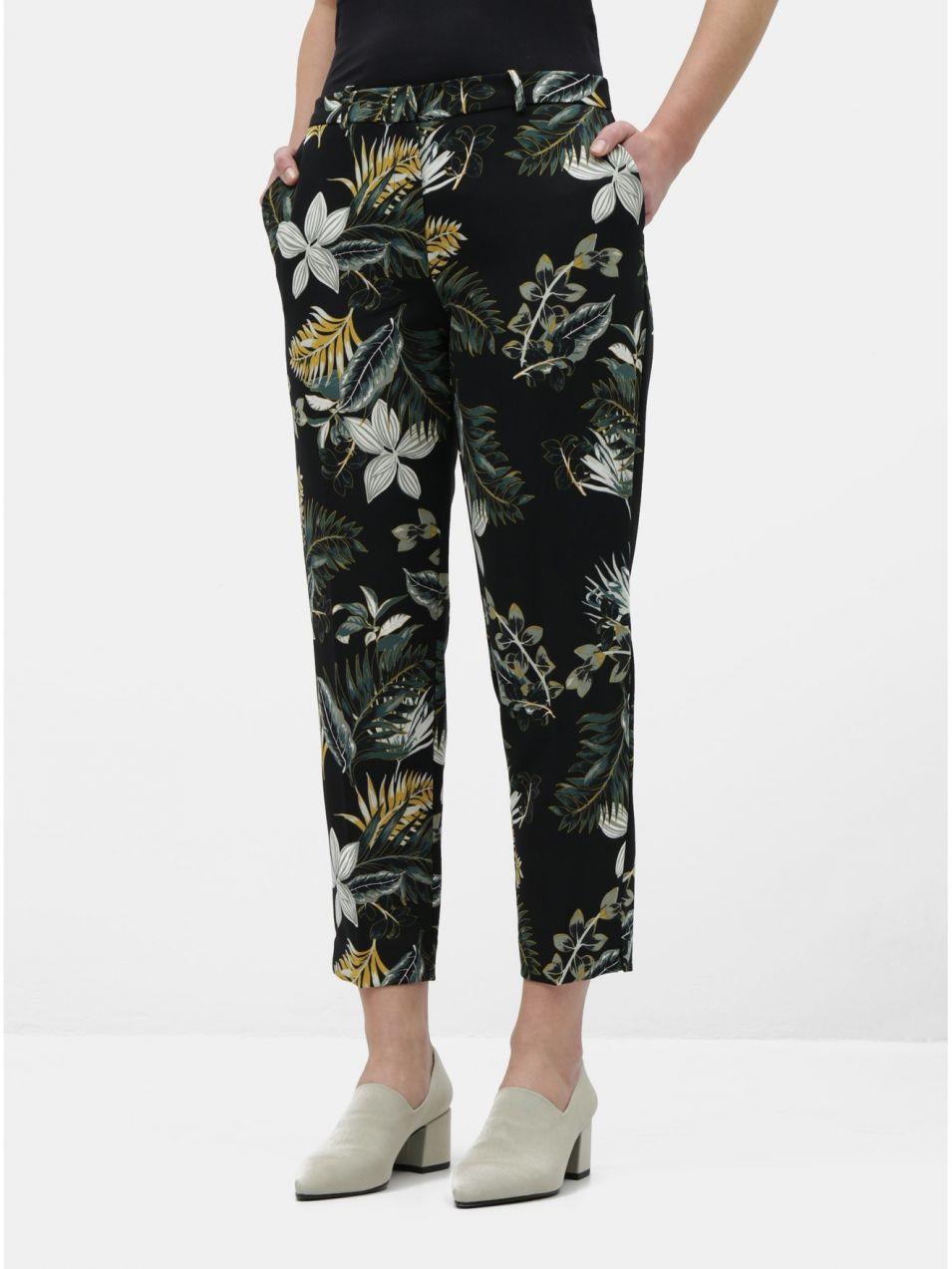 64ebb968225a Čierne skrátené kvetované nohavice Dorothy Perkins značky Dorothy ...